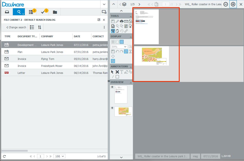 Visualizzazione E-Mail con DocuWare