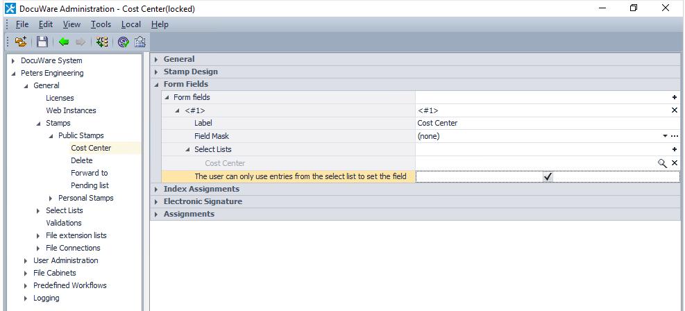 Impostazioni aggiuntive della lista di selezione