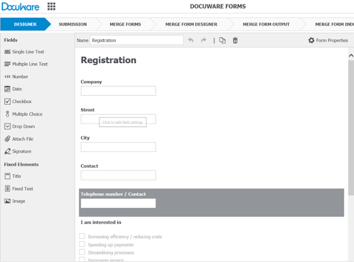 Web form cartacei con DocuWare