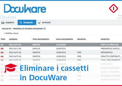Come eliminare un cassetto in DocuWare