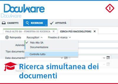 Ricerca simultanea dei documenti in più raccoglitori con DocuWare