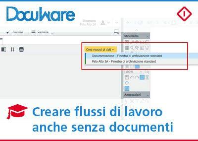 Flussi di lavoro con DocuWare anche senza documenti