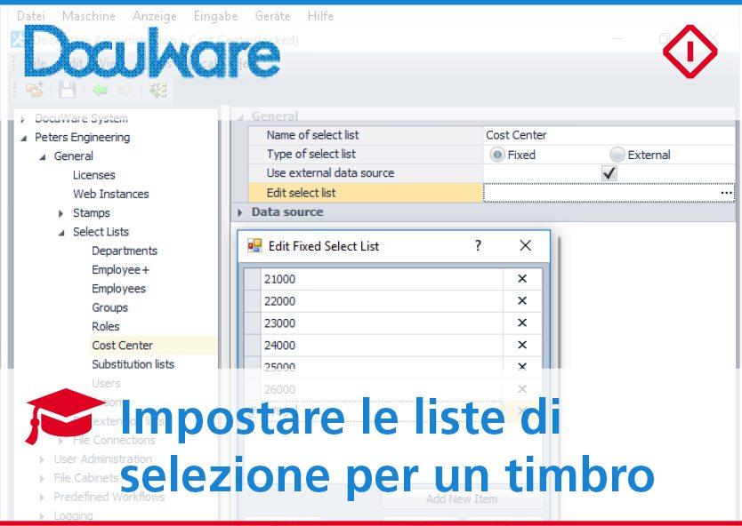 Impostare una lista di selezione dei timbri con DocuWare